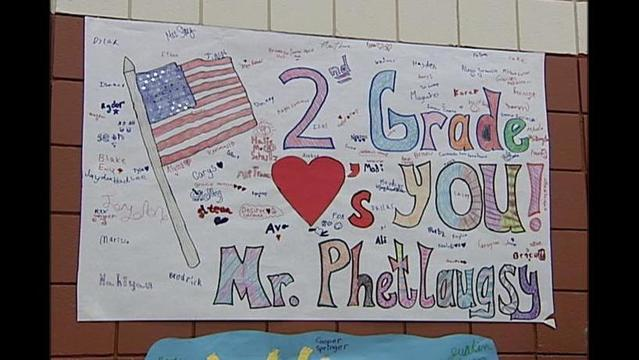 Kids at Arden Road Honor Returning Marine