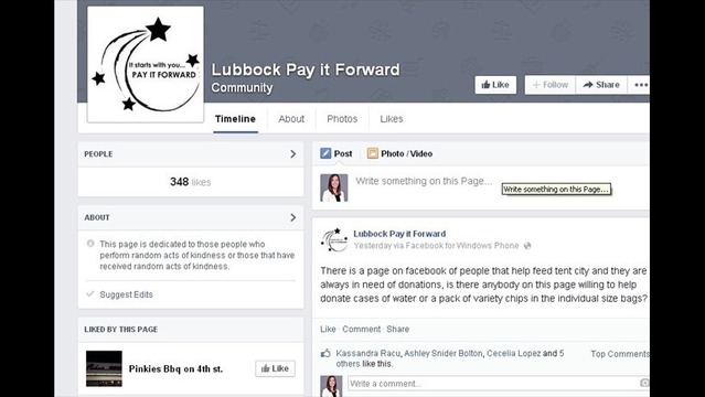 Lubbockites Pay It Forward on Facebook