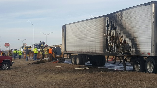 Tire Blowout Causes Truck Fire