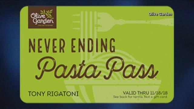 Consumer News - Olive Garden\'s Pass Back Up For Sale
